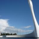 Музыкальный фонтан. Олимпийский факел. Олимпийский парк Сочи.