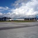 Вид на Олимийские объекты с центральной плошади Олимпийского парка.