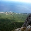 Канатная дорога «Мисхор – Ай-Петри». На высоте 1153 метра над уровнем моря деревья смотрятся зеленым ковром.