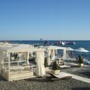 Пляж Солнечный в Сочи. Черноморское побережье, Россия.