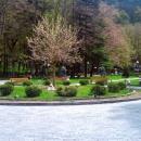 Питьевой бювет с минеральной водой Боржоми. Курорт Боржоми в Грузии.