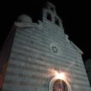 Православная церковь Святой Троицы в Будве вечером. Старый город Будва.