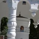 Беседка с ликом святых у собора Архангела Михаила в Сочи.