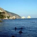 Вид с пляжа Гурзуфа на гору Медведь и Адалары