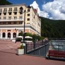 Вид с Романова моста на отель Radisson Rosa Khutor 5*. Роза Хутор.