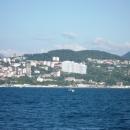 Вид на курорт Краснодарского края с моря. Сочи.
