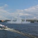 Плавучий фонтан в акватории Невы в Санкт-Петербурге. Фонтан на Неве работал с 2006-2009 г.