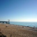 Песчано-галечный пляж санатория Амра. Отдых в Абхазии. Гагра.