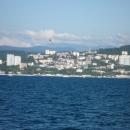Вид на город-курорт Сочи с моря во время морской экскурсии.