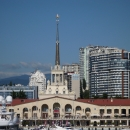 Вид на морской вокзал города Сочи с моря.
