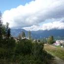 Вид с канатной дороги на Горную Олимпийскую деревню. Роза Хутор.