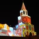 Световое представление на Спасской башне Казанского кремля 31 декабря 2015 г. Тема: достопримечательности городов России.
