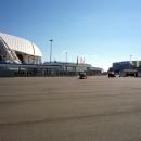 Вид на стадион Фишт и Ледовую арену Шайба. Олимпийский парк.
