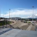 Вид на керлинговый центр Ледяной куб. Олимпийский парк.