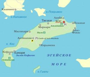 Карта острова Кос - курорты острова Кос в Греции