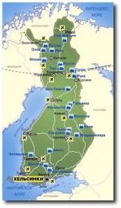 Карта с горнолыжными курортами Финляндии