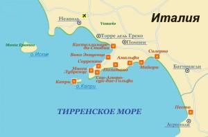 Карта Тирренского Побережья Италии