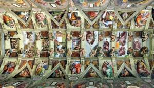 Потолок в Сикстинской капелле, автор Микеланджело Буонарроти.