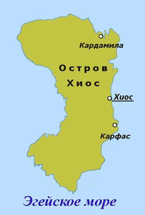 Карта Острова Хиос, Греция.