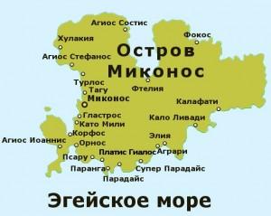 Карта острова Миконос, Греция.