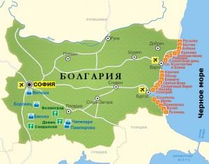 Карта Болгарии с курортами.